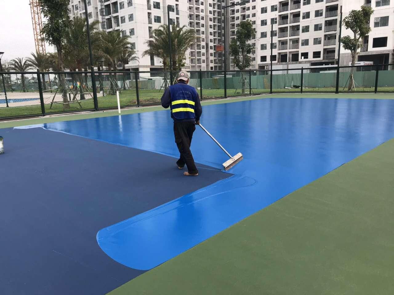 Thi công sơn sàn ( Nền ) Epoxy sân bóng rổ tại Biên Hòa - Đồng Nai